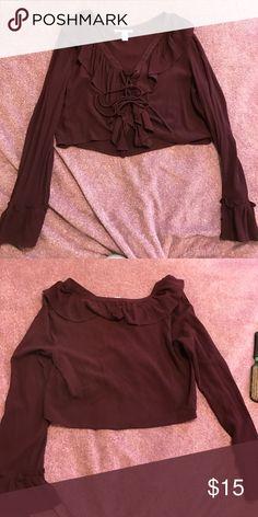 Long sleeve crop top Long sleeve purple crop top. Never worn. Impulse buy Forever 21 Tops Tees - Long Sleeve