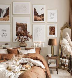 Room Ideas Bedroom, Decor Room, Bedroom Colors, Home Decor Bedroom, Brown Bedroom Decor, Gallery Wall Bedroom, Gallery Wall Frames, Bedroom Wall, Wall Decor