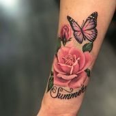51 Real Pink Rose-tatoeages - Tattoo-Ideen - Tattoo Designs For Women Pink Rose Tattoos, Butterfly Tattoos For Women, Tattoos For Women Flowers, Butterfly Tattoo Designs, Rose Arm Tattoos, Flower Back Tattoos, Rose Tattoo Forearm, Tattoo Arm, Rosen Tattoo Frau