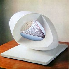 Barbara Hepworth Plaster Sculptures | BH 119) Sculpture With Colour (oval form) Pale Blue and Red , 1943 in ...