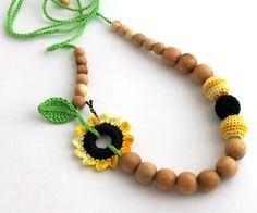Sunflower Breastfeeding Necklace/Crochet Necklace by CasaDeGato, $22.00