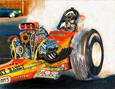Drag Racing Art Print of Mike Sullivan. Hagen Drag Racing Art logo will not appear on your print. Truck Mechanic, Top Fuel Dragster, Nhra Drag Racing, Rail Car, Vintage Racing, Retro Vintage, Drag Cars, Car Humor, Fast Cars