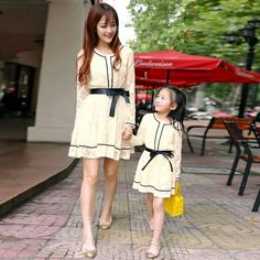 Wholesale Mother And Daughter - Buy Autumn Family Mother And Daughter Clothing Long Sleeve Lace Dress with Belt Baby Girls Dress Children Christmas Clothes Faminl Dress Alikes, $25.14 | DHgate