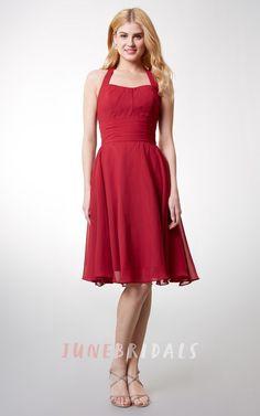 Tea Length Dress With Halter Neckline Chiffon Fitted Waist Bowknot – June Bridals