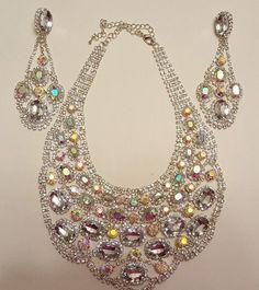 Rhinestone Bib necklace & Dangle Earrings Set Wedding Prom Statement #ebay #jewelry #wedding #bride #rhinestone #necklace