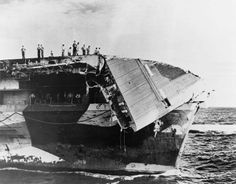 USS Hornet (CV-12) damaged flight deck 1945