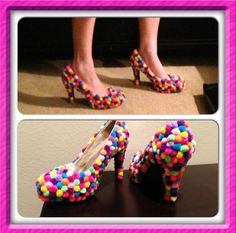 Gumball shoes for candyland costume. Hot glue multi colored Pom Poms onto heels!
