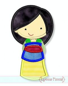 Cutie Asian Princess Applique 4x4 5x7 6x10