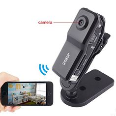Eovas Mini DV Wifi Camera Portable Hidden Camera Video Recorder Security DVR for Iphone Android ipad PC Remote View Spy Video Camera * Continue to the product at the image link. Wireless Home Security Cameras, Security Camera System, Security Surveillance, Spy Video Camera, Spy Camera, App Remote, Best Waterproof Camera, Nanny Cam
