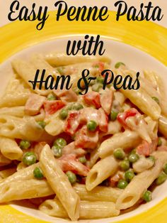 penne pasta with ham & peas - an easy recipe using leftover ham in a creamy sauce.