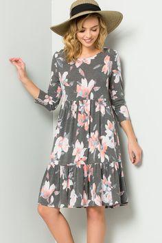 Violet Floral Midi Dress   Charcoal – GOZON Boutique Floral Midi Dress 9ff7e3a11