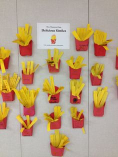 """French Fry Similes, bulletin board idea. Maybe on the """"box"""" have starters than students finish on fries. Ex: I am as hungry as ....Christopher Columbus 's crew after 3 months at sea."""