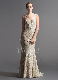 Trompete/Meerjungfrau-Linie V-Ausschnitt Sweep/Pinsel zug Tüll Spitze Brautkleid mit Perlen verziert (0025056548)