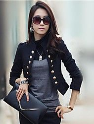 Women's Stand Collar Double Breasted Slim Blazer