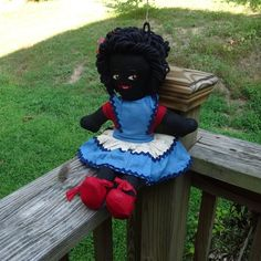 Black Americana Folk Rag Doll, Home Sewn, Red, White, Blue Dress, Bloomers, Red Shoes, Hand Embroidered Face, Yarn Loop Hair, Vintage Doll by VictorianWardrobe on Etsy