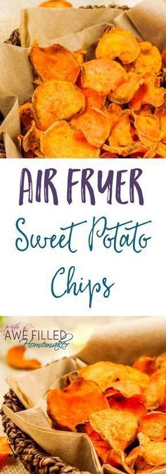 Fryer Sweet Potato Chips I am sure we all have a weakness or two with things we crave to eat. Mine is chips. That's why I love this Air Fryer Sweet Potato Chip recipe!Fryer (surname) Fryer is a surname. Air Frier Recipes, Air Fryer Oven Recipes, Air Fryer Recipes Vegetables, Air Fryer Recipes Potatoes, Air Fryer Recipes Appetizers, Health Appetizers, Veggies, Vegetable Recipes, Healthy Recipes