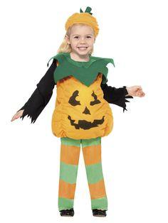 Kürbis Pumpkin Kinder-Kostüm orange-grün-schwarz kürbiskostüm