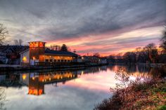 Here is the lovely Boardwalk Inn right on the bank of the Erie Canal in Brockport just at sunset this fall.  When the Erie Canal is full it makes great reflections. I will stick around this evening…