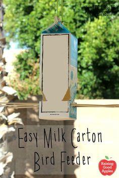 Easy Milk Carton Bird Feeder | This is a fun garden DIY project for kids to make | client