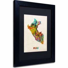 Trademark Fine Art Peru Watercolor Map Canvas Art by Michael Tompsett, Black Matte, Black Frame, Size: 16 x 20