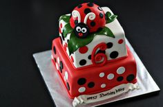 Ladybug Fondant Ladybug Cake Topper and Matching Polka Dot and Age Cake Decorations Perfect for a Ladybug Party