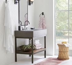 Shop Pottery Barn for single sink, double sink and custom bathroom vanities. Our bathroom vanities come in a variety of finishes and add functionality to any space. Diy Bathroom Vanity, Diy Bathroom Remodel, White Bathroom, Concrete Sink Bathroom, Bathroom Ideas, Bathroom Designs, Master Bathroom, Bathroom Updates, Bath Remodel