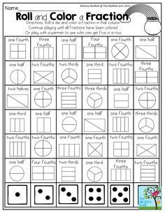 This is a great activity when teaching fractions. It lets students play a fun game with a partner and learn about fractions at the same time. I also think one student could roll 2 die and try and get all the fractions with those die. Teaching Fractions, Math Fractions, Teaching Math, Equivalent Fractions, 3rd Grade Fractions, 3rd Grade Math Worksheets, Math Math, Fractions For Kids, Dividing Fractions