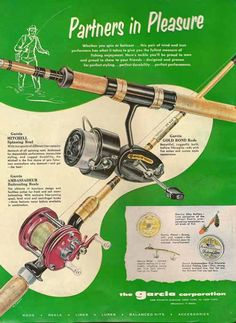 Vintage fishing reel ads