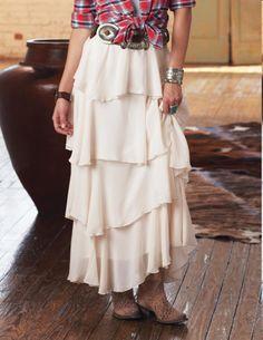 Krásná romantická sukně s neobvyklými volány.