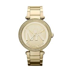 Parker is decorated with rich crystal accents around the bezel to add sparkle and glamour to your attire. Designed by Michael Kors, this trendy feminine timepiece features a bright goldtone stainless steel bracelet and easy-to-read dial.