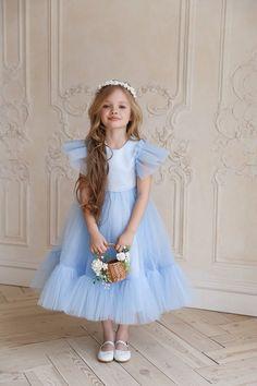 Girls Blue Dress, White Flower Girl Dresses, Little Girl Dresses, Girls Dresses, Blue Dresses For Kids, Dress Girl, Black Kids, Black Child, Wedding With Kids