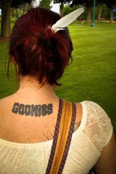 """This was my fourth tattoo. I thought it would be a neat idea to get a Goonies tattoo because 1. not many people even know what the goonies is, nor have seen the movie and 2. it has a lot of hidden messages that people don't realize.  Like the Goonies, I believe that mistakes are to be made, however we should learn from them.   & Goonies never say die."""