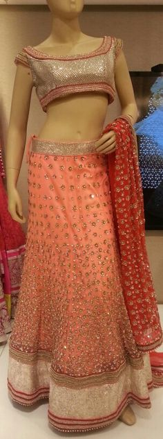 #Stone Work #Blouse with Peachy Pink #Lehenga.