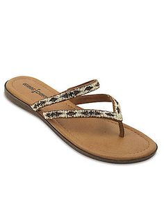 Minnetonka Suede Beaded Double Strap Thong Sandals | Lord and Taylor