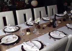Thanksgiving table setting  fall decor white brown burlap mason jar rustic