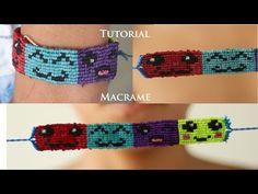tutorial pulsera macrame de emoticones | pulseras de hilo | patrones alpha - YouTube