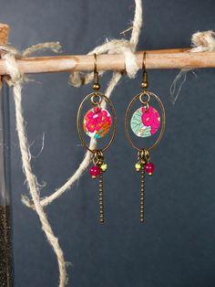 Boucles d'oreille Rétro tissu liberty, vert, orange, fuchsia... : Boucles d'oreille par maia-la-belle