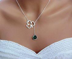 Green Emerald Lucky Clover Lariat Necklace in Silver-  May Birthstone, Irish, St. Patricks, original design by ACutieChick.