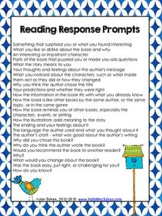 Freebie!  Reading Response Topics, Write About Your Reading