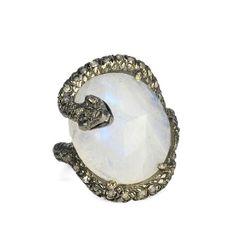 "Nina Runsdorf  Moonstone Snake Ring 18 Karat Blackened Gold Bathed Sterling Silver ""Snake"" Ring with Rosecut Blue Moonstone and Pave Diamonds (0.54 tcw)."