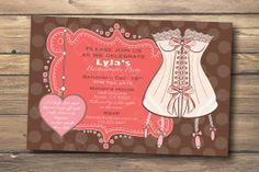 Pink & Brown Lingerie Corset Bachelorette Party or Bridal Shower Invitation, Digital or Printed. $15.00, via Etsy.