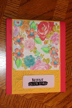 Rejoice in the Lord 3D Flowers handmade blank card by lilyofthevall77 on Etsy