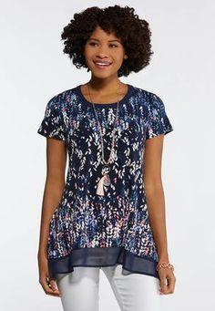04eb6f671f5 Printed Chiffon Trim Top Tees   Amp   Knit Tops Cato Fashions