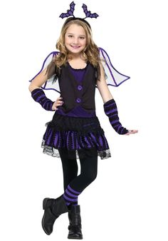 <h5>Description</h5> #112572 Eek, Eek...Fly around into the dark this Halloween as this cute bat. Includes: Dress, Sleevelets, Wings and Headband w/ Bats. Sizes: S(4-6), M(8-10), L(12-14)