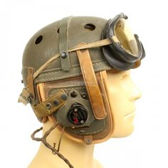 Original U.S. WWII Mint Condition M38 Tanker Helmet by Wilson with Type R-14 Earphones and Polaroid Goggles