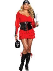 Adult Pirate Wench Plus Size Pirate Costume - Party City Can be used for a fairy costume with slight changes.
