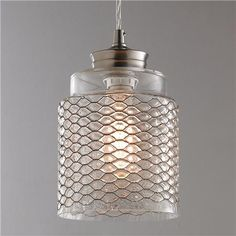 Metal Honeycomb Glass Pendant for over kitchen sink.