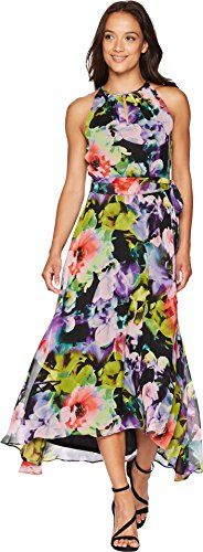 Tahari by Arthur S. Levine Women's Relaxed Fit Crepe and Chiffon Dress with Keyhole at Neck, Black/Blush/Fern, 8 Chiffon Dress, Dress Skirt, Evening Dresses, Summer Dresses, Summer Fashion Trends, Lady, Womens Fashion, Clothes, Style