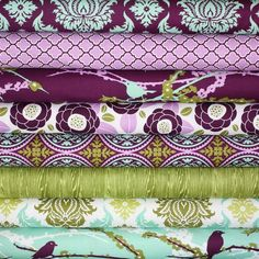 Items similar to Plum Aviary 3 Piece Crib Set on Etsy Fabric Crafts, Sewing Crafts, Sewing Tutorials, Sewing Projects, Diy Crafts, Textiles, Fabric Patterns, Sewing Patterns, Quilt Material