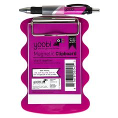 Magnetic Clipboard with Pen - Pink